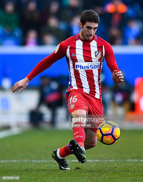 Sime Vrsaljko of Club Atletico de Madrid runs with the ball during the La Liga match between Deportivo Alaves and Club Atletico de Madrid at...