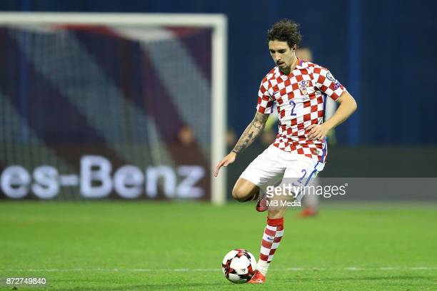Sime Vrsaljko of Croatia controls the ball during the FIFA 2018 World Cup Qualifier playoff first leg match between Croatia and Greece at Maksimir...