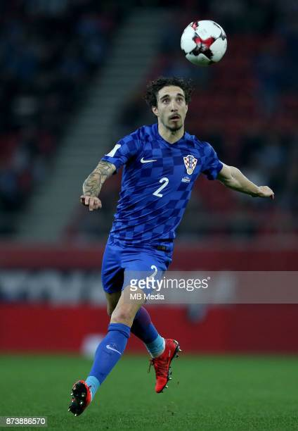 Sime Vrsaljko of Croatia controls the ball during the FIFA 2018 World Cup Qualifier playoff second leg match between Greece and Croatia at Georgios...