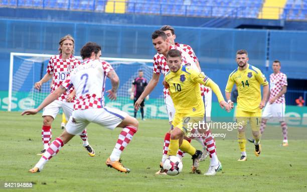 Sime Vrsaljko of Croatia in action against Arber Zeneli of Kosovo during the 2018 FIFA World Cup European Qualifying match between Croatia and Kosovo...