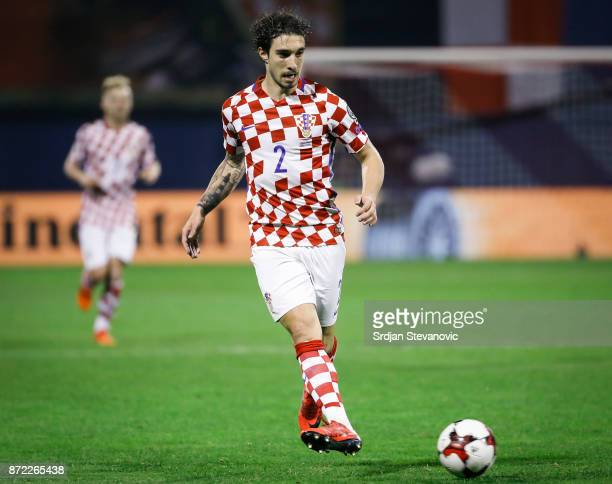Sime Vrsaljko of Croatia in action during the FIFA 2018 World Cup Qualifier PlayOff First Leg between Croatia and Greece at Stadion Maksimir on...