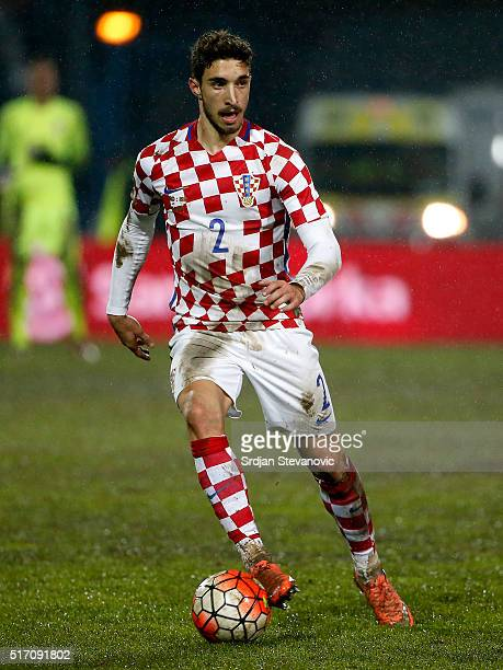 Sime Vrsaljko of Croatia in action during the International Friendly match between Croatia and Israel at stadium Gradski Vrt on March 23 2016 in...