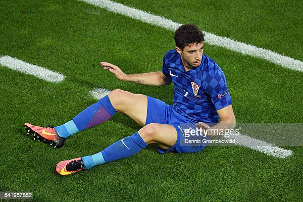 Sime Vrsaljko of Croatia reacts during the UEFA EURO 2016 Group D match between Croatia and Spain at Stade Matmut Atlantique on June 21 2016 in...