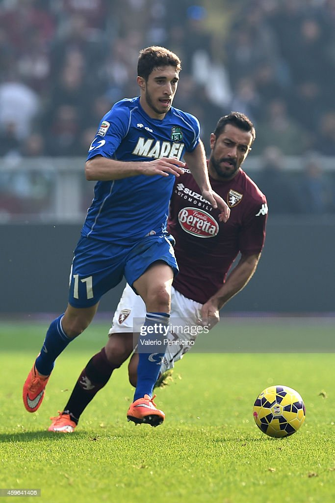 Sime Vrsaljko of US Sassuolo Calcio in action during the Serie A match between Torino FC v US Sassuolo Calcio at Stadio Olimpico di Torino on November 23, 2014 in Turin, Italy.