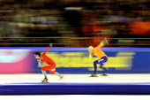 Simen Spieler Nilsen of Norway and Sven Kramer of Netherlands compete in the 500m Mens during the Essent ISU European Speed Skating Championships...