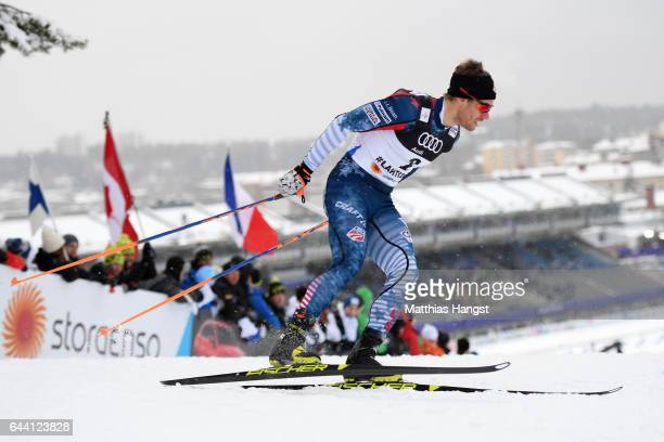 Simeon Hamilton of the United States competes in the Men's 16KM Cross Country Sprint qualification round during the FIS Nordic World Ski...