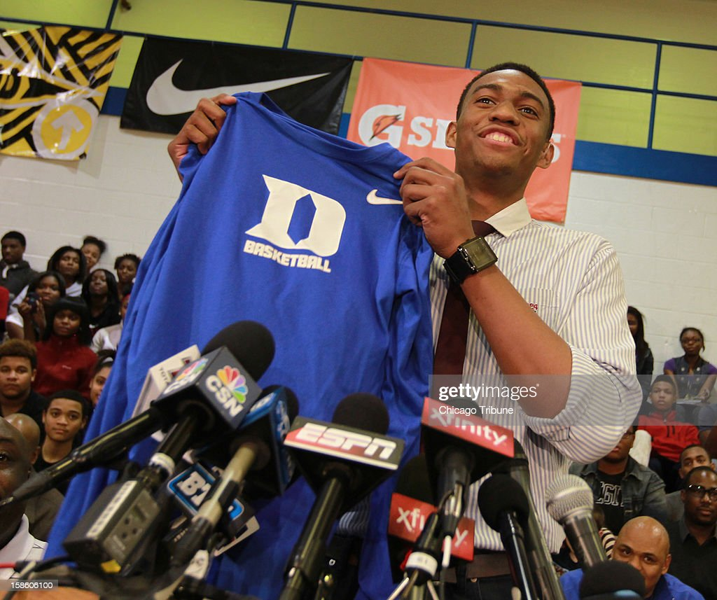 Simeon High School senior Jabari Parker ended months of speculation Thursday, December 20, 2012, when he revealed he would play college basketball at Duke next season.