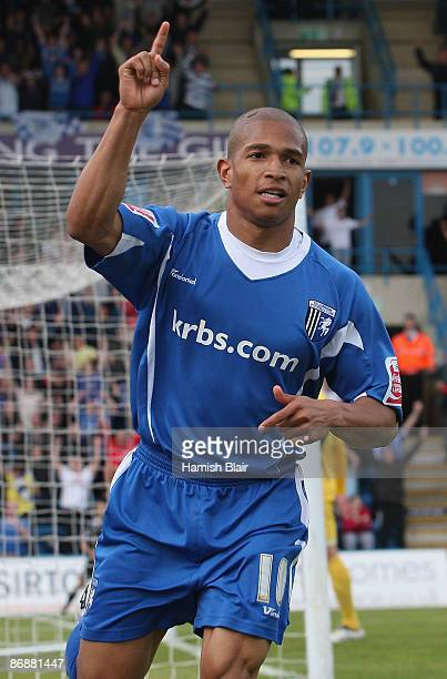 Simeon Jackson of Gillingham celebrates after scoring his team's first goal during the Coca Cola League Two Playoff Semi Final Second Leg between...