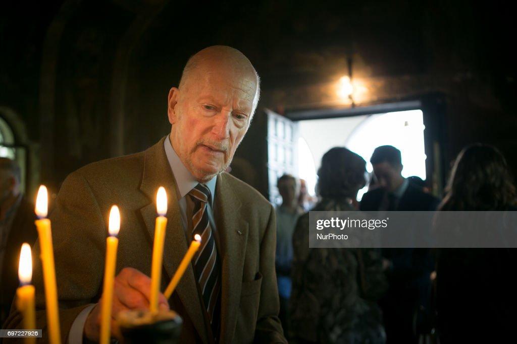 Simeon Saxe-Coburg-Gotha at the Cherepish Monastery in Vratsa region, Bulgaria on 17 June 2017 for the his 80th Birthday.