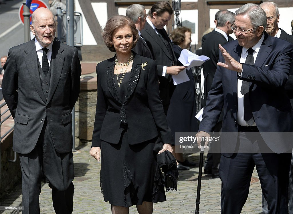 Simeon Saxe-Coburg-Gotha, <a gi-track='captionPersonalityLinkClicked' href=/galleries/search?phrase=Queen+Sofia+of+Spain&family=editorial&specificpeople=160333 ng-click='$event.stopPropagation()'>Queen Sofia of Spain</a> and the former King Constantine of Greece attend the funeral service of Moritz Landgrave of Hesse at Johanniskirche on June 3, 2013 in Kronberg, Germany. Moritz of Hesse died aged 86 years on May 23 in Frankfurt. A great-grandson of the Emperor Frederick III and great-grandson of Queen Victoria, he was related to many European royal families.