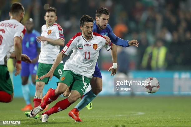 Simeon Slavchev of Bulgaria Spas Delev of Bulgaria Stanislav Manolev of Bulgaria Kevin Strootman of Hollandduring the FIFA World Cup 2018 qualifying...