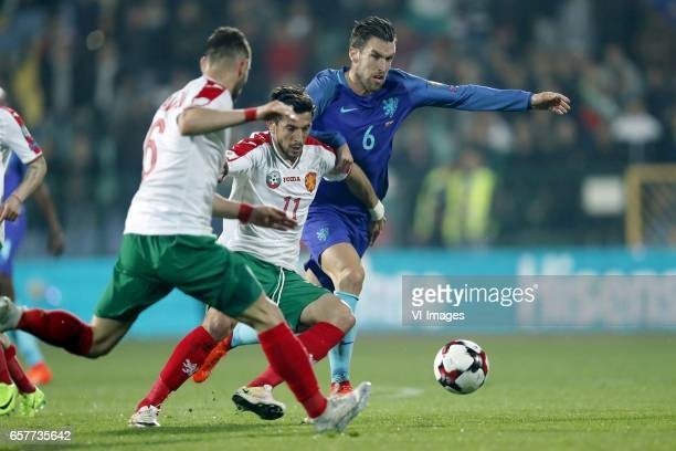 Simeon Slavchev of Bulgaria Stanislav Manolev of Bulgaria Kevin Strootman of Hollandduring the FIFA World Cup 2018 qualifying match between Bulgaria...