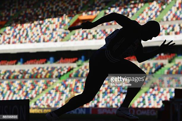 Simeon Williamson of Great Britain sprints out of the starting blocks on the first leg the men's 4 x 100m relay during day one of the Spar European...