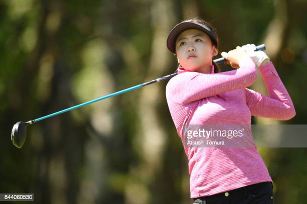 Simin Feng of China hits her tee shot on the 11th hole during the second round of the 50th LPGA Championship Konica Minolta Cup 2017 at the Appi...