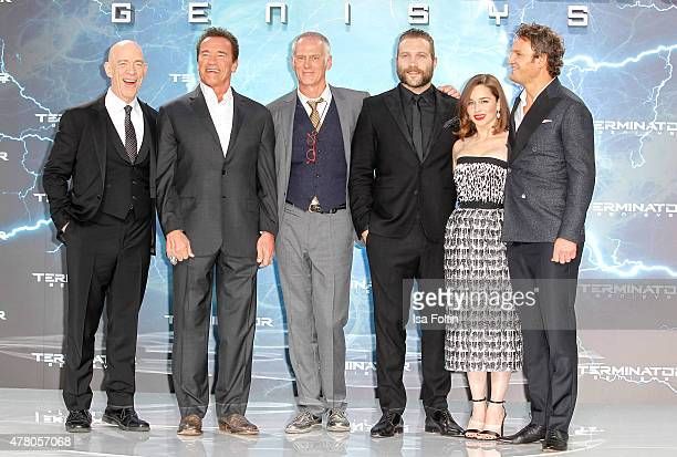J K Simmons Arnold Schwarzenegger Alan Taylor Jai Courtney Emilia Clarke andJason Clarke attend the European Premiere of 'Terminator Genisys' at the...