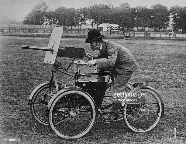 Simms 'Motor Scout' armoured quadricycle c1899 This vehicle carried a Maxim gun 1000 rounds of ammunition an iron shield for the driver's protection...