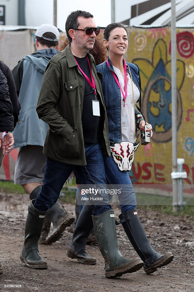 Simon Aboud and Mary McCartney attend the Glastonbury Festival at Worthy Farm, Pilton on June 25, 2016 in Glastonbury, England.