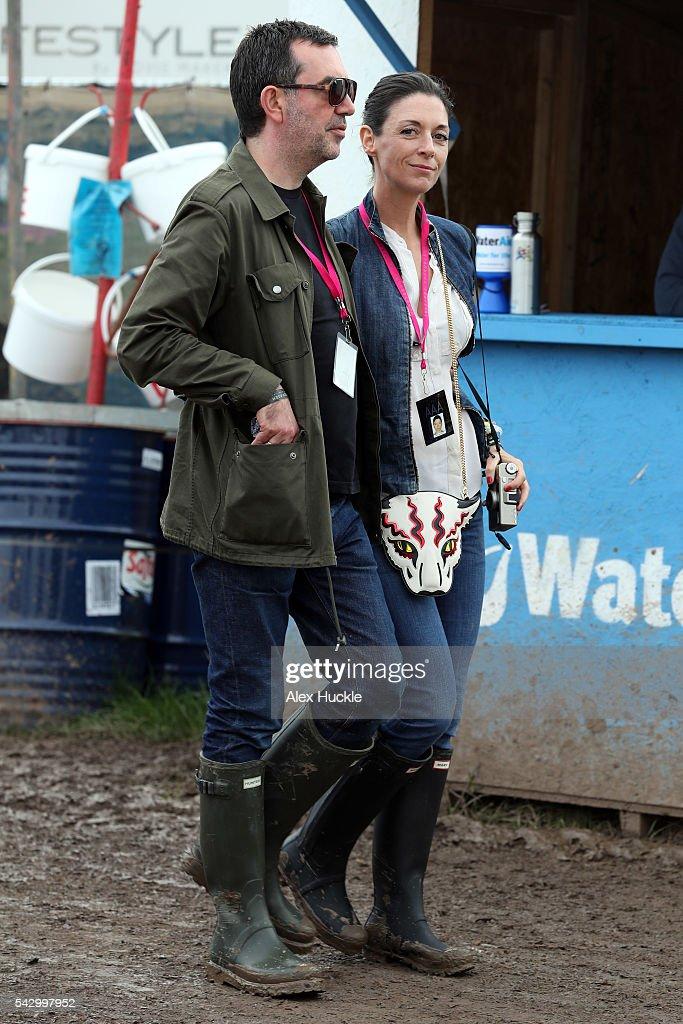 Simon Aboud and Mary McCartney attend the Glastonbury Festival at Worthy Farm, Pilton on June 25, 2016 in Glastonbury, England.