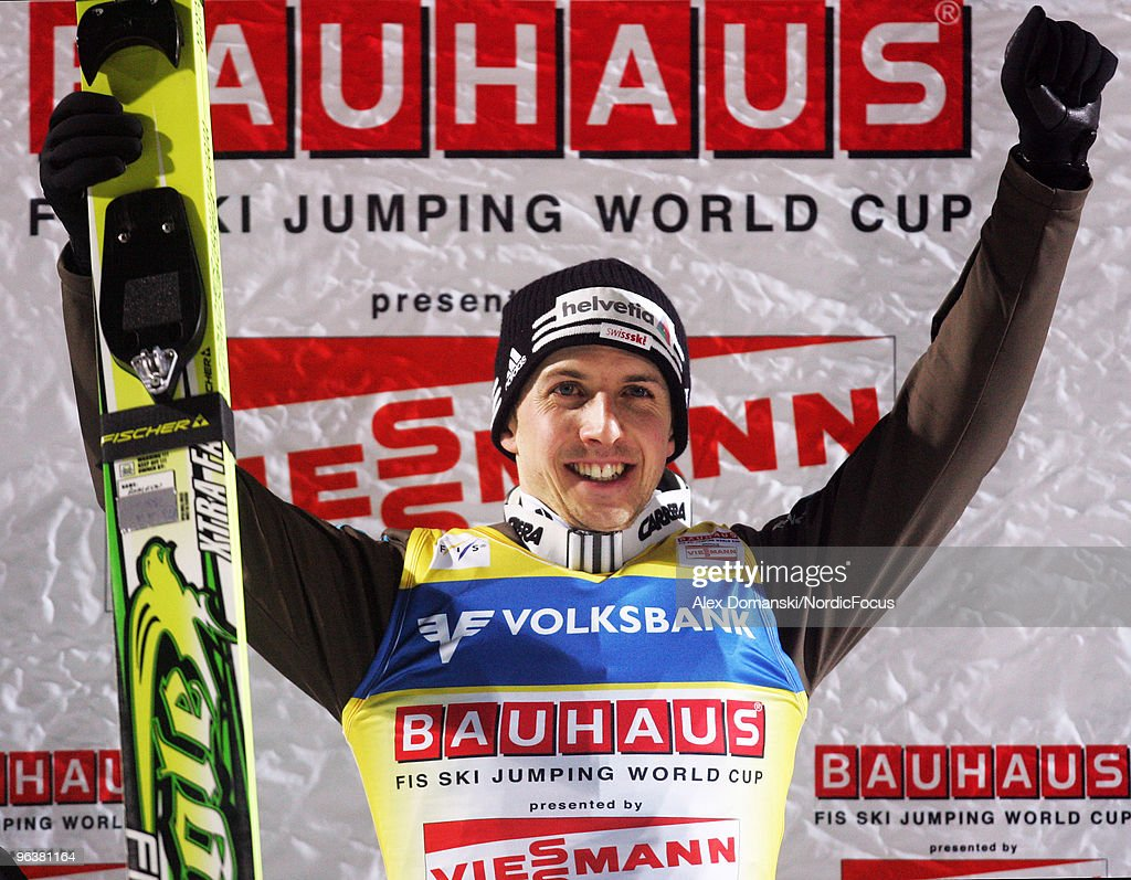 Simon Ammann celebrates after winning the FIS Ski Jumping World Cup on February 3 2010 in Klingenthal Germany