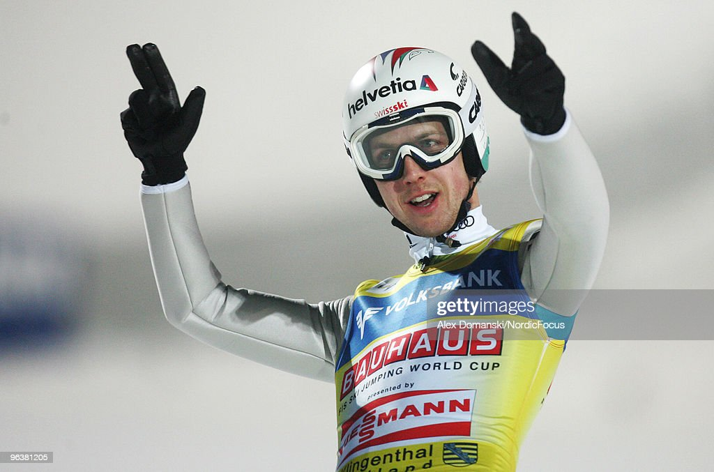 Simon Ammann celebrates after winning the FIS Ski Jumping World Cup on February 3, 2010 in Klingenthal, Germany.