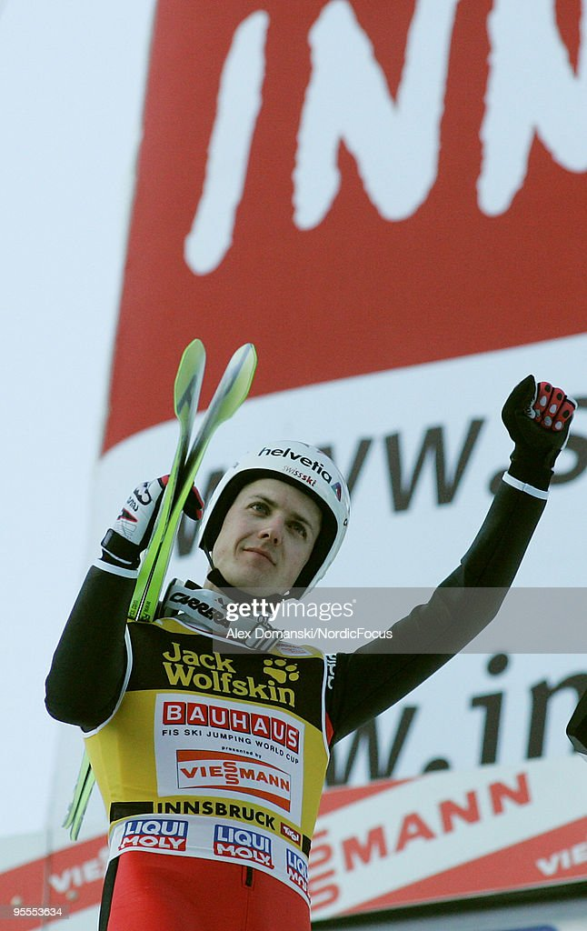 Simon Ammann of Switzerland celebrates after taking second place in the FIS Ski Jumping World Cup event of the 58th Four Hills ski jumping tournament on January 3, 2010 in Innsbruck, Austria.