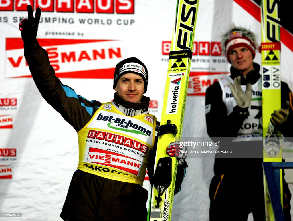 Simon Ammann of Switzerland celebrates after taking second place in the FIS Ski Jumping World Cup on January 22 2010 in Zakopane Poland