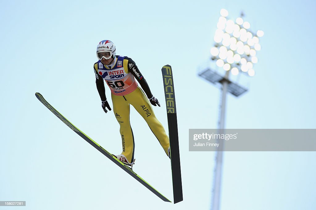 Simon Ammann of Switzerland competes in a Ski Jump during the FIS Ski Jumping World Cup at the RusSki Gorki venue on December 9, 2012 in Sochi, Russia.