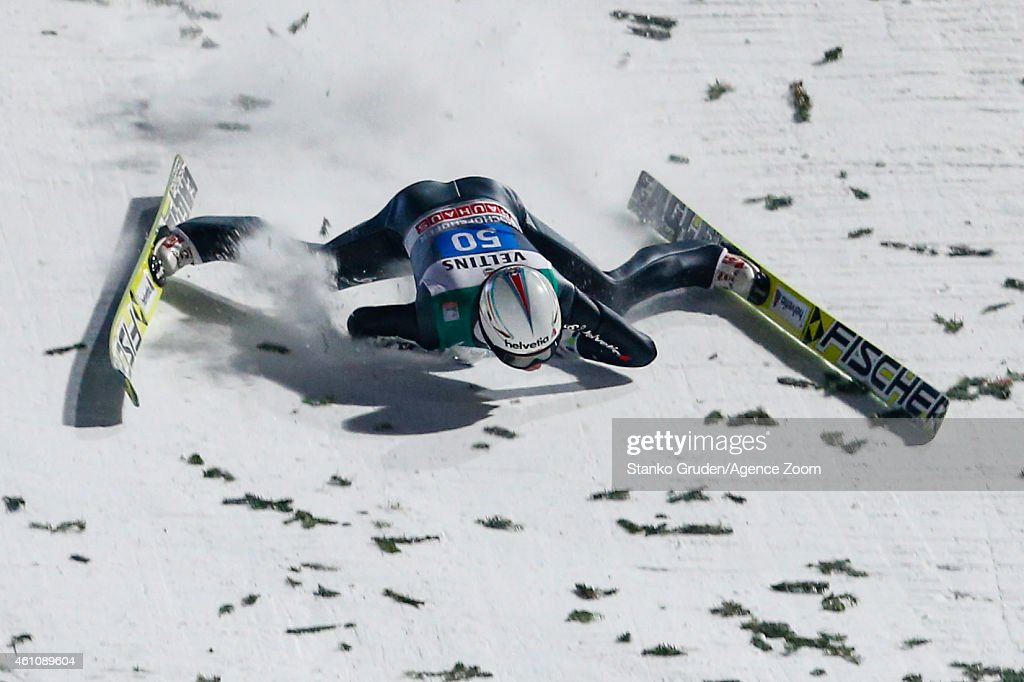 <a gi-track='captionPersonalityLinkClicked' href=/galleries/search?phrase=Simon+Ammann&family=editorial&specificpeople=210667 ng-click='$event.stopPropagation()'>Simon Ammann</a> of Switzerland falls during the FIS Ski Jumping World Cup Vierschanzentournee (Four Hills Tournament) on January 06, 2015 in Bischofhofen, Austria.