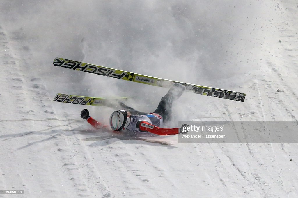 <a gi-track='captionPersonalityLinkClicked' href=/galleries/search?phrase=Simon+Ammann&family=editorial&specificpeople=210667 ng-click='$event.stopPropagation()'>Simon Ammann</a> of Switzerland falls on his first round jump on day 2 of the Four Hills Tournament Ski Jumping event at Schattenberg-Schanze Erdinger Arena on December 29, 2014 in Oberstdorf, Germany.