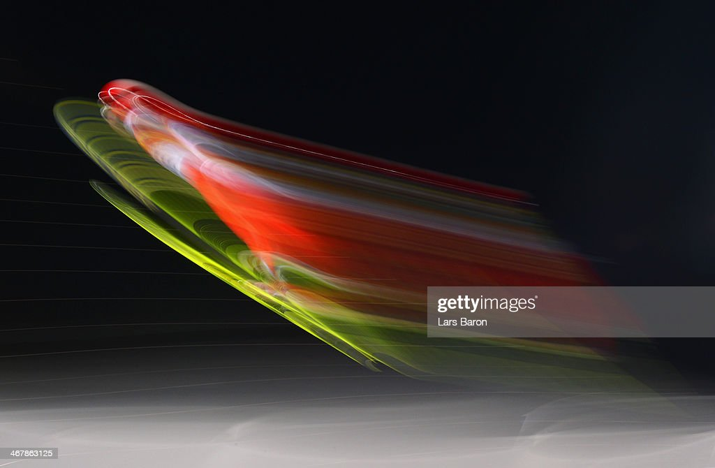 Simon Ammann of Switzerland jumps during the Men's Normal Hill Individual Qualification on day 1 of the Sochi 2014 Winter Olympics at the RusSki...