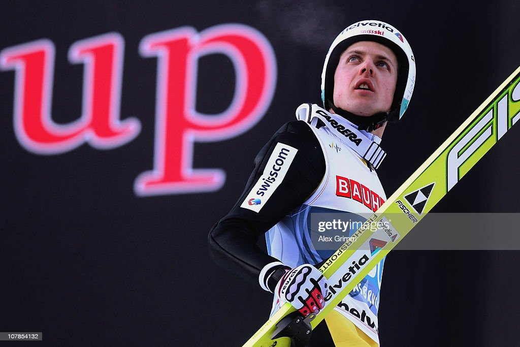 <a gi-track='captionPersonalityLinkClicked' href=/galleries/search?phrase=Simon+Ammann&family=editorial&specificpeople=210667 ng-click='$event.stopPropagation()'>Simon Ammann</a> of Switzerland reacts after his second jump during the FIS Ski Jumping World Cup event of the 59th Four Hills ski jumping tournament at Bergisel on January 3, 2011 in Innsbruck, Austria.