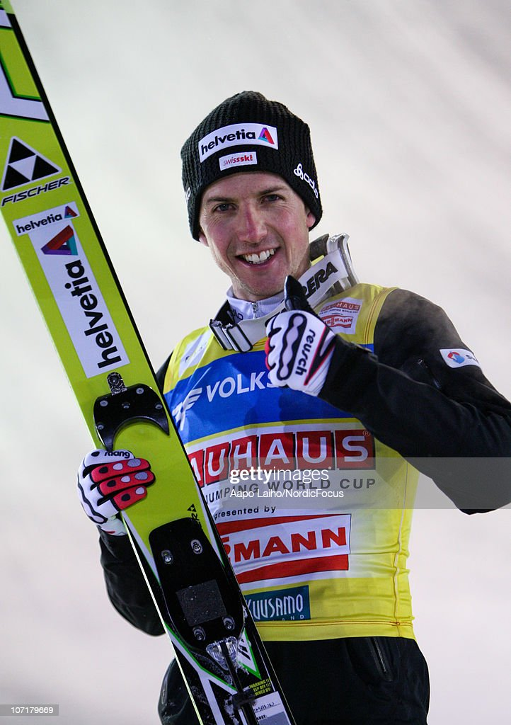 Simon Ammann of Switzerland smiling after the third place in the individual HS142 during the FIS Ski Jumping World Cup on November 28, 2010, in Kuusamo, Finland.