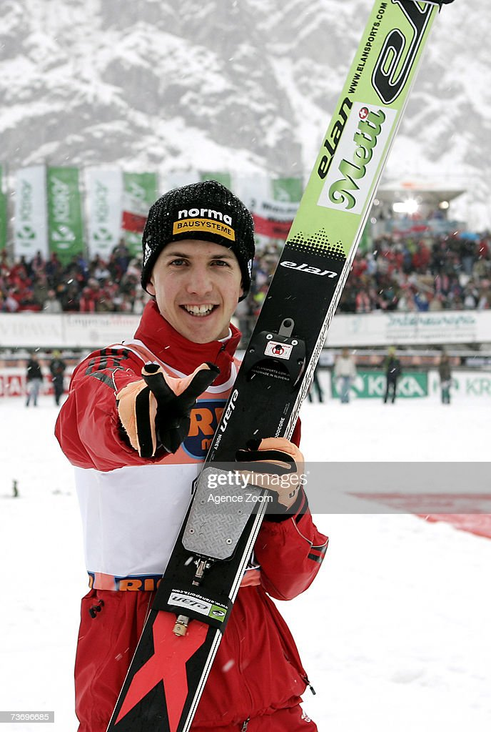 Simon Ammann of Switzerland takes 2nd place, during the FIS Ski Jumping World Cup HS 215 event on March 25, 2007 in Planica, Slovenia.