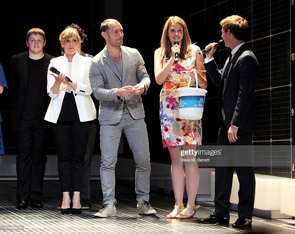 Simon Amstell, Mel Giedroyc, Jude Law, Kay Rudd and Luke Treadaway speak on stage at 'A Curious Night at the Theatre', a charity gala evening to raise funds for Ambitious about Autism and The National Autistic Society, at The Apollo Theatre on July 1, 2013 in London, England.