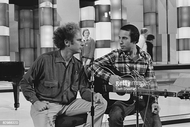 Simon and Garfunkel during rehearsals for a television program London 1977