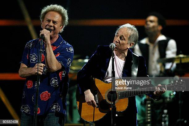 Simon and Garfunkel perform onstage at the 25th Anniversary Rock Roll Hall of Fame Concert at Madison Square Garden on October 29 2009 in New York...