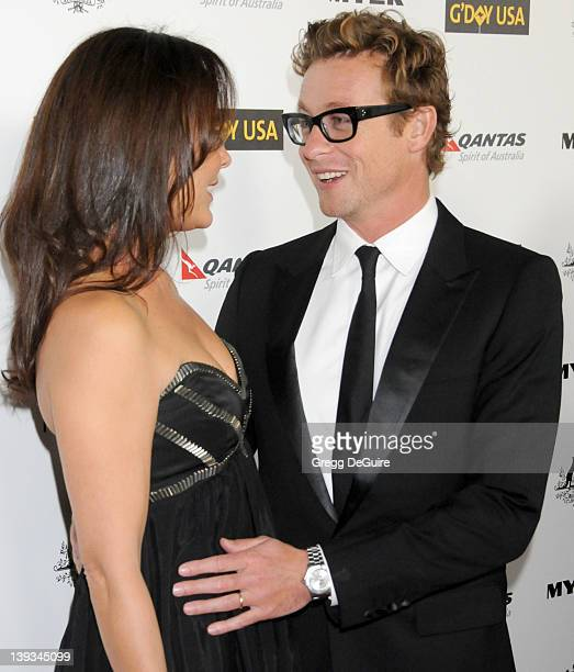 Simon Baker and wife Rebecca Rigg arrive at the 2011 G'Day USA Los Angeles Black Tie Gala honoring Barry Gibb Roy Emerson and Abbie Cornish held at...
