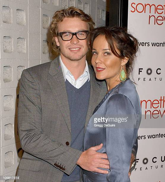 Simon Baker and wife Rebecca Riggs during 'Something New' Los Angeles Premiere Arrivals at Cinerama Dome in Los Angeles California United States