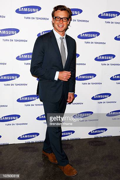 Simon Baker arrives at the Samsung 9 Objects of Desire Showcase at the Museum of Contemporary Art on July 16 2010 in Sydney Australia