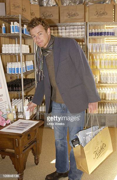 Simon Baker in front of Kiehl's display during 2004 Park City Motorola Lodge at Motorolla House in Park City Utah United States