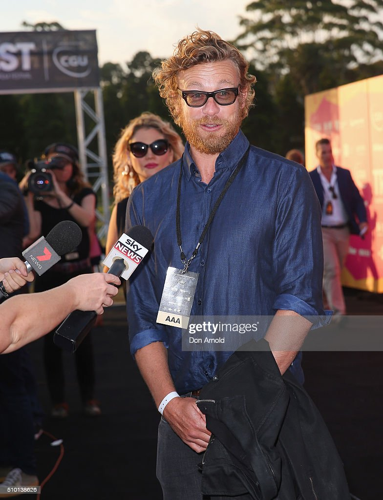 <a gi-track='captionPersonalityLinkClicked' href=/galleries/search?phrase=Simon+Baker&family=editorial&specificpeople=206176 ng-click='$event.stopPropagation()'>Simon Baker</a> is interviewed ahead of Tropfest 2016 at Centennial Park on February 14, 2016 in Sydney, Australia.