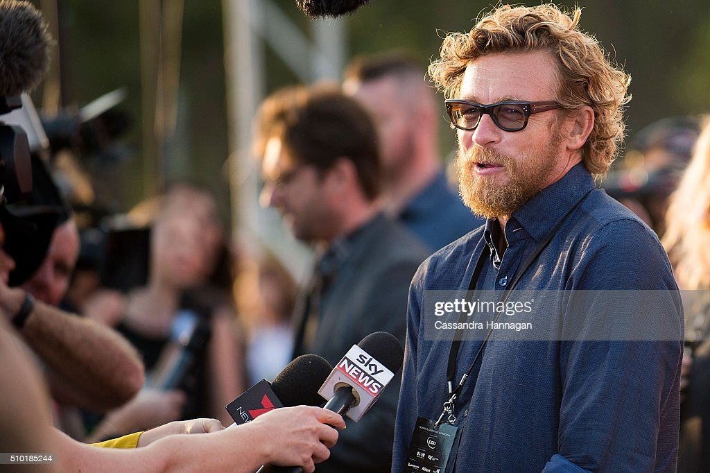 <a gi-track='captionPersonalityLinkClicked' href=/galleries/search?phrase=Simon+Baker&family=editorial&specificpeople=206176 ng-click='$event.stopPropagation()'>Simon Baker</a> is interviewed on the red carpet at Tropfest at Centennial Park on February 14, 2016 in Sydney, Australia.