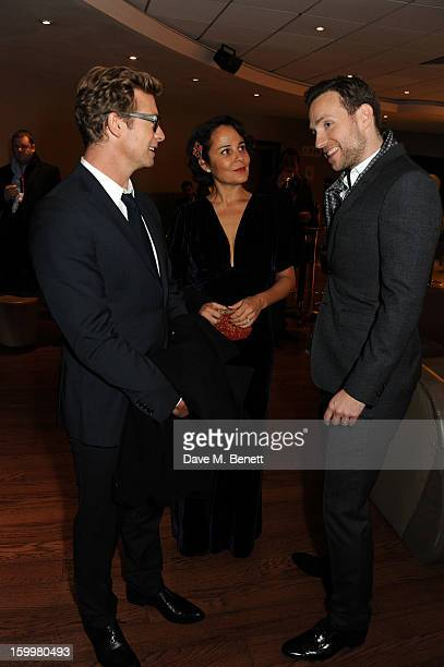 Simon Baker Rebecca Rigg and Rafe Spall attend the European Premiere of 'I Give It A Year' at Vue West End on January 24 2013 in London England