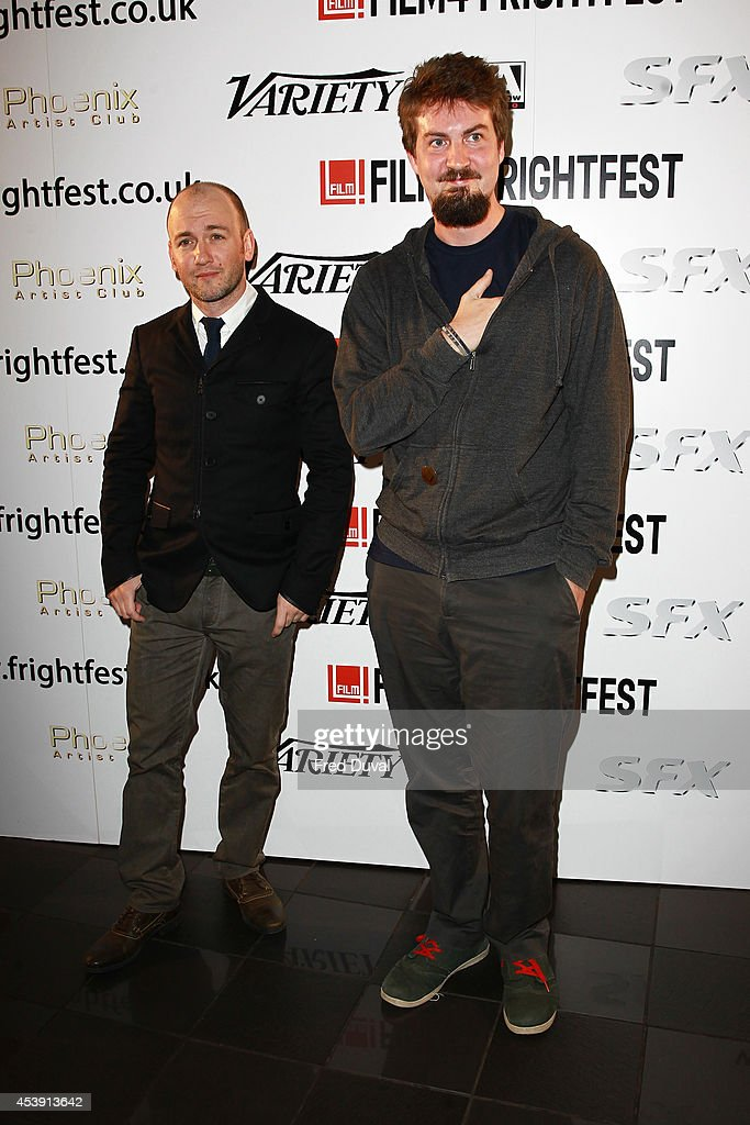 Simon Barratt and <a gi-track='captionPersonalityLinkClicked' href=/galleries/search?phrase=Adam+Wingard&family=editorial&specificpeople=4607303 ng-click='$event.stopPropagation()'>Adam Wingard</a> attend the UK premiere of 'The Guest' at Vue Leicester Square on August 21, 2014 in London, England.