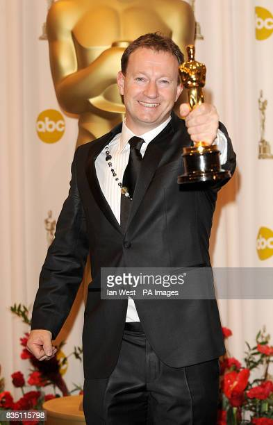 Simon Beaufoy with the Best Adapted Screenplay award received for Slumdog Millionaire at the 81st Academy Awards at the Kodak Theatre Los Angeles