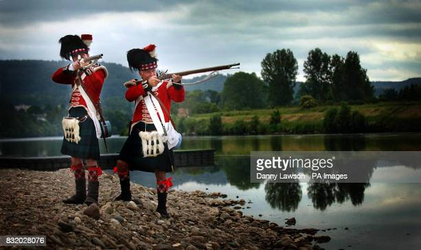 Simon Betts and Keith Gregory wear an 1815 Black Watch uniform as they prepare for The Game Conservancy Scottish Fair this weekend at Scone Palace...