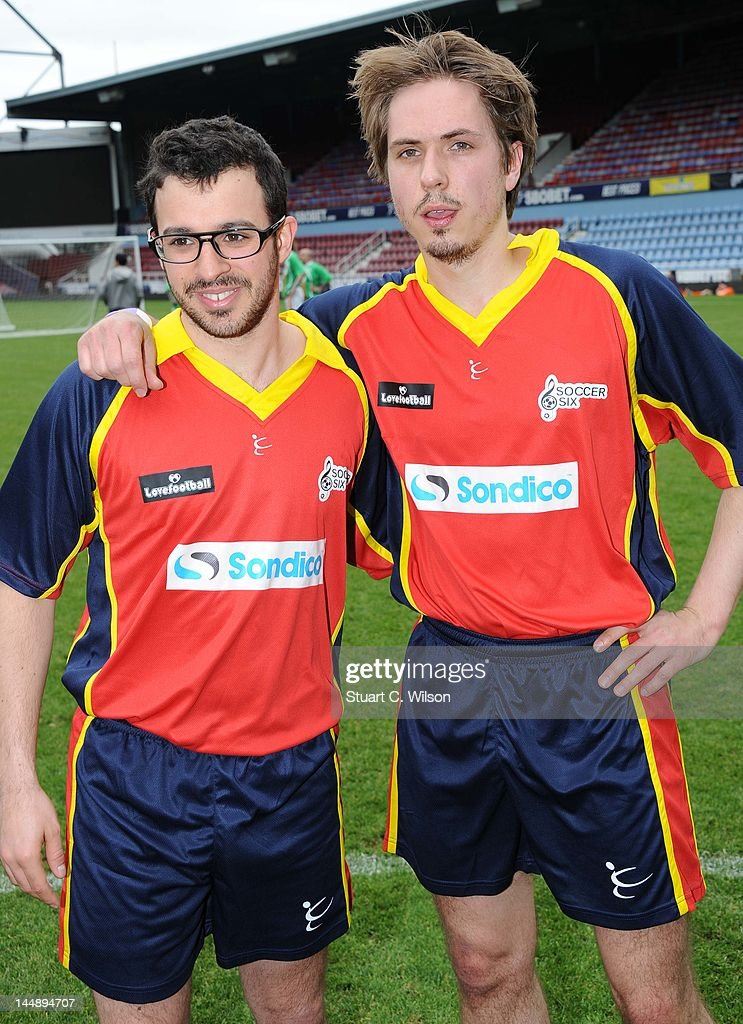 Simon Bird and Joe Thomas attend the Celebrity Soccer Six 2012 Tournament at Upton Park on May 20, 2012 in London, England.