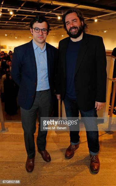 Simon Bird and Matt Berry attend the press night after party for 'The Philanthropist' at the Mall Galleries on April 20 2017 in London England