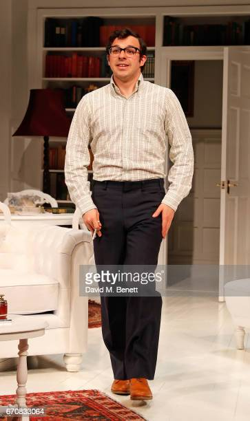 Simon Bird bows at the curtain call during the press night performance of 'The Philanthropist' at the Trafalgar Studios on April 20 2017 in London...