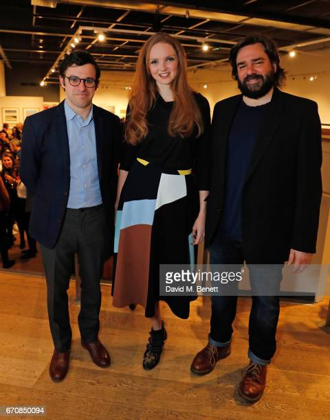Simon Bird Lily Cole and Matt Berry attend the press night after party for 'The Philanthropist' at the Mall Galleries on April 20 2017 in London...
